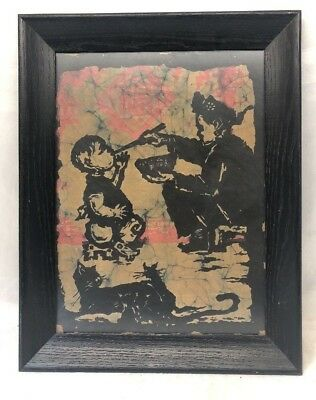 "19"" x 15"" Very Old Antique Asian Chinese Painting on Rice Paper - Vintage"