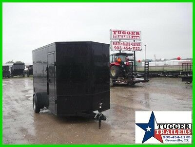 6x12 12ft T-Series Enclosed Cargo Motorcycle ATV UTV Tools Black Out Trailer USA