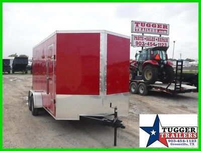 7x16 16ft Enclosed Cargo Utility Tools Work Equipment Barn Doors Sport Trailer!!
