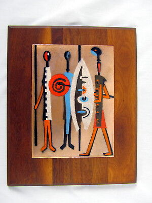 Vintage Mid-Century Modern Enamel on Copper Wall Art Vibrant Orange Tribal