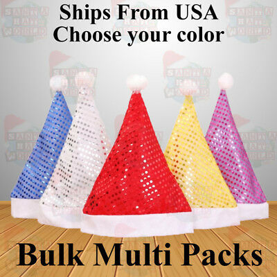 Red Yellow Gold Blue Purple Silver Sequin Santa Hats Ships from USA LOT