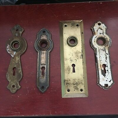 VTG Antique Lot Of 4 Assorted Art Noveau Stamped  Door Knob Backplates