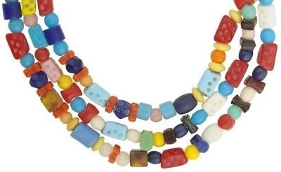 African glass trade beads old Bohemian Czech necklace mixed West Africa Ghana