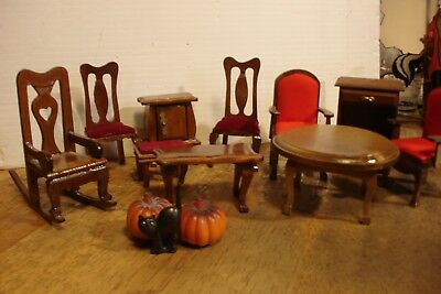 13 pcs Vintage Dollhouse Miniature Furniture Halloween Pumpkins Black Cat Rocker