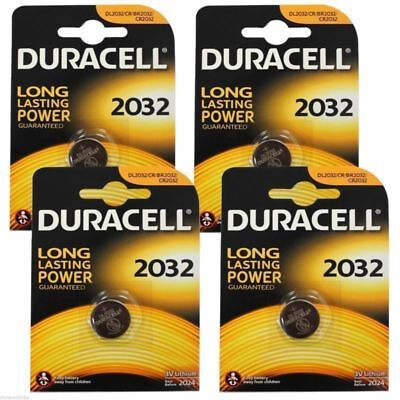 GENUINE 4 X Duracell CR2032 3V Lithium Button Battery Coin Cell DL/CR 2032