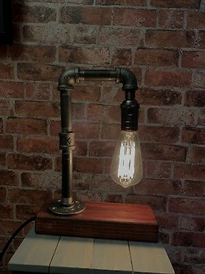 Industrial Pipe Bedside Table Desk Lamp Room Light Retro Urban Home