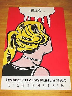 "Roy Lichtenstein Exhibition Poster "" Hello "" Los Angeles Art Museum Vintage Mint"