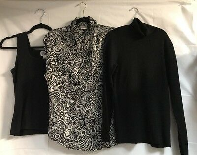 Lot of 3 Women's Chico's Shirts~ Tops~ Blouse~Size 1~Black~pre-owned