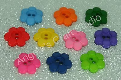 30 Flower Bright Novelty Buttons New - Great for Sewing & Many Craft Projects