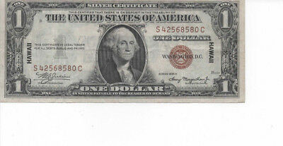 1935-A $1 Hawaii Overprint Note S-C Block WWII Silver Certificate in Protector
