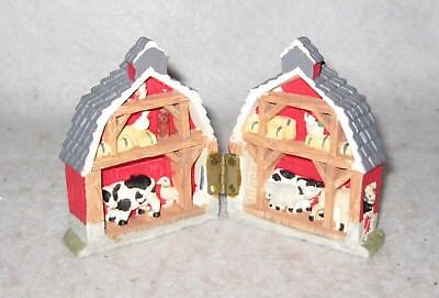 Small Barn that opens to Show Barnyard Animal Scene Shelf Decor 3 x 2.25""