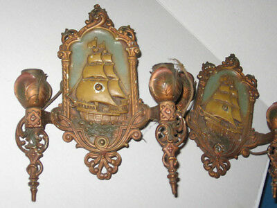 Antique Vintage matching pair Lincoln Sconces  elec.  Wall lamps original paint