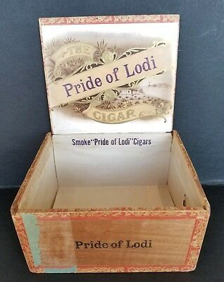 Vintage Pride Of Lodi California Wood Cigar Box Great Seal USA 7x6x4 Antique