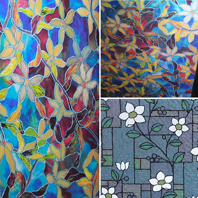 Static Cling Frosted Stained Flower Glass Window Film Sticker Home Decor CA