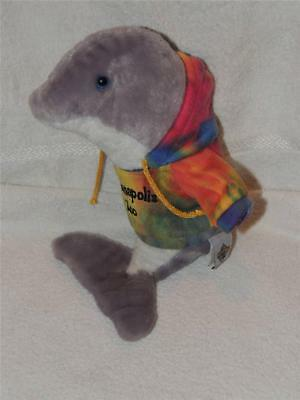 Plush Petting Zoo Dolphin Porpoise wearing Indianapolis Zoo Tie Dyed Hoodie 12""