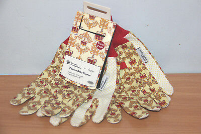 Twin Pack Cotton Grip Gloves - Historic Royal Palaces - Medium - New - BARGAIN