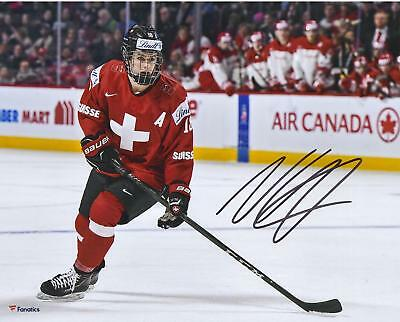Nico Hischier Devils Signed 8x10 Team Switzerland 2017 World Junior Champs Photo