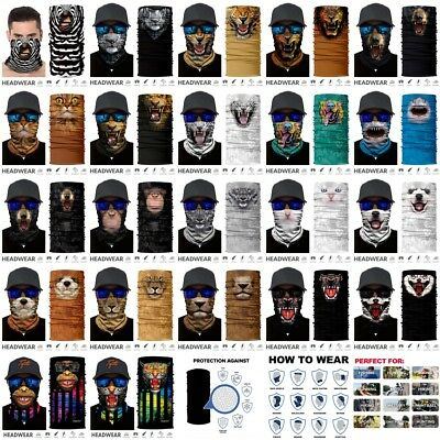 Animal Pattern Face Shield Headwear Neck Tube Scarf Cycling Mask Wind Protector