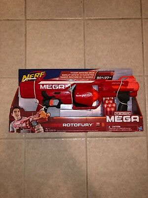 Nerf Gun N-Strike Mega RotoFury Blaster Toy Dart Gun New in Box! w/10 Darts 90ft