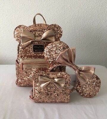 DISNEY PARKS LOUNGEFLY ROSEGOLD MINNIE MOUSE BACKPACK w/MATCHING WALLET & EARS