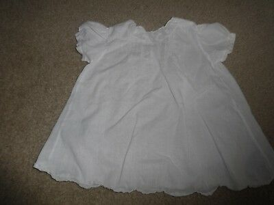 Vintage Pemae White Cotton Baby or Doll Dress Size 6 - 12 months (1 year)