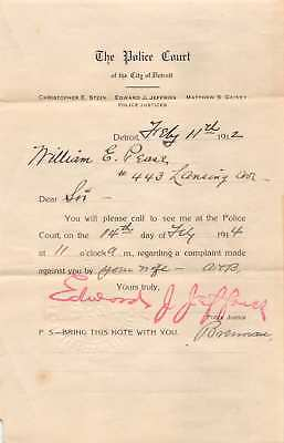 1914 Envelop & The Police Court Summons Detroit Michigan Complaint by Wife