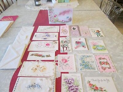 Vintage Lot of 22 TINY Mini Gold and Silver Embossed Cards/ Unused/ Fairy Box