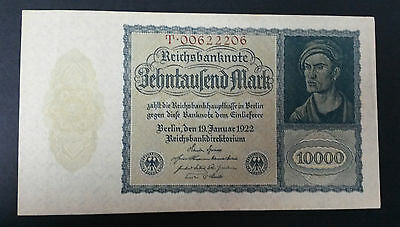 World Banknotes - German 1922 Ten Thousand Mark Germany Note Pick # 72 Unc