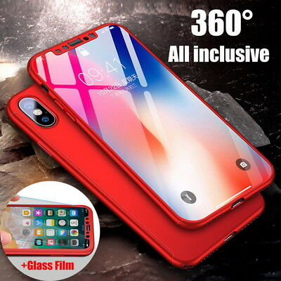 For iPhone XS Max XR X 7 8 360° Full Cover Protective Phone Case +Tempered Glass