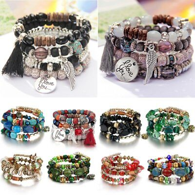 Boho Multilayer Natural Stone Agate Turquoise Crystal Bangle Beaded Bracelet Hot
