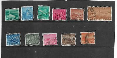 India 1955. Five Year Plan.  Part Set Of 11.  Fine Used. As Per Scan