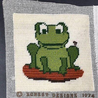 "Vintage 1970's Needlepoint Frog Sunset Designs 5"" x 5"" Completed"