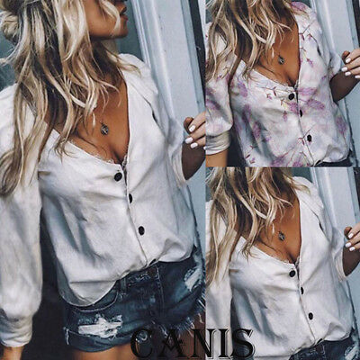 US Women's  V Neck Long Sleeve Button T Shirt Floral Blouse Ladies Casual Tops