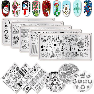 BORN PRETTY Nail Stamping Plates Ongle Plaque Pochoir Modèle Christmas Nail Art