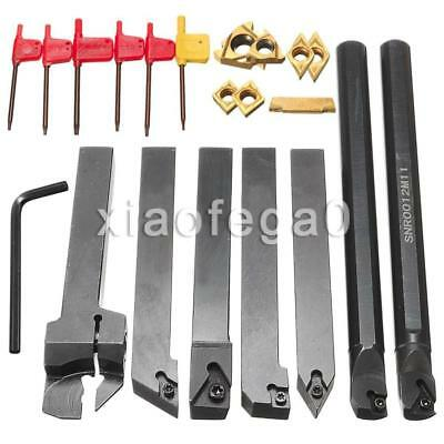 7Pcs 12mm Shank Lathe Turning Tool Holder Boring Bar+DCMT CCMT Carbide Insert US