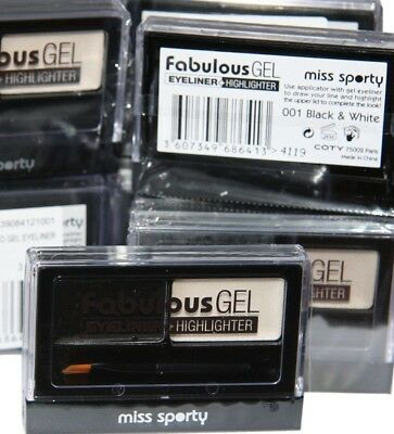 6 x Miss Sporty Fabulous Gel Eyeliner and Highlighter | Black and White