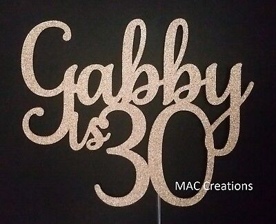 Personalised Party Cake Topper 30th Birthday Thirty 30 ANY NAME AND AGE - 40 50