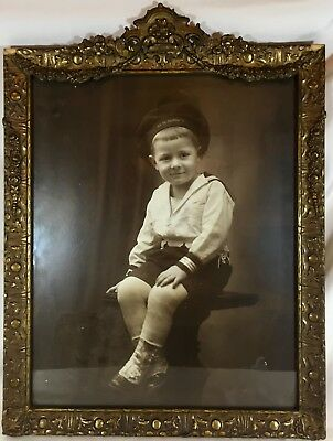 1917 US Food Administration Ornate Framed Photo of Boy in WW1 Navy Uniform
