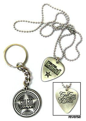 Goo Goo Dolls Metal Star Keychain & Guitar Pick Necklace Set New Official Band