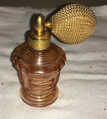 Antique Vintage Pink Glass Perfume Bottle With Puffy Atomizer