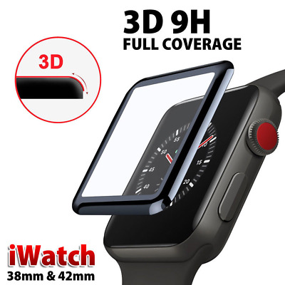 3D Full Cover Tempered Glass Screen Protector For Apple Watch Series 4 3 2 1 UK
