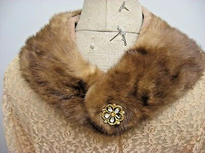 Vintage Brown Mink fur collar 50'S 60'S genuine fur collar rhinestone button
