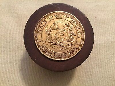 Vintage Seal Of West Virginia Coin Paperweight