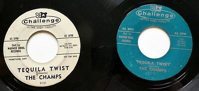 """the CHAMPS Lot of 2x45rpm Singles """"Limbo Rock"""" on Challenge Surf 1963  Ct748"""