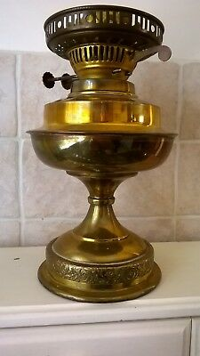 Vintage Oil Lamp Brass With Decorative Scroll Design Base 25 cm Tall
