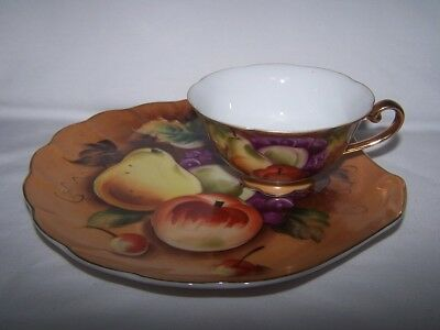 Lefton Snack Plate & Cup Set Heritage Brown Fruit