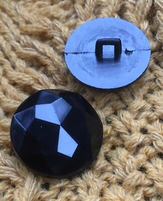 Black Shank Faceted Buttons 15mm / 18mm / 20mm Pack Sizes 10/20