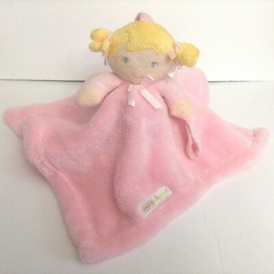 Blankets And Beyond Blond Hair Girl Doll Security Blanket Lovey Pink Ponytail