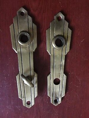 VTG Antique Pair Of Yale Entry Art Noveau Stamped  Door Knob Backplates