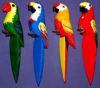 """Tropical Parrots/Birds Hand Carved Wood/Painted 2""""X8"""" W/Clip Select Color"""